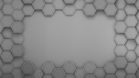 Carbon and metallic material hexagons background template. 3d Render royalty free illustration