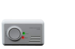 Carbon monoxide alarm on white  background. Royalty Free Stock Photo