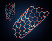 Carbon nanotube structure. Nano technology illustration Stock Photo