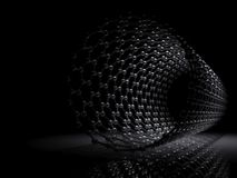 Carbon nanotubes 3d scheme. Carbon nanotubes molecular structure scheme, carbon atoms connected in wrapped hexagonal lattice. 3d illustration on black background Royalty Free Stock Images