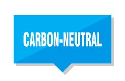 Carbon-neutral price tag. Carbon-neutral blue square price tag Stock Photo