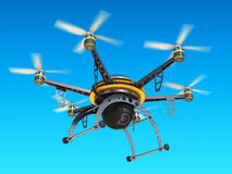 Carbon quadrocopter drone with digital camera in sky. Stock Image