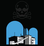 Carbon reduction. Warning with polluting factory and skull Royalty Free Stock Image