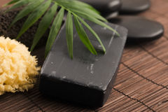 Carbon soap. Block of natural carbon soap royalty free stock photos