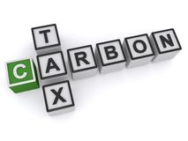 Carbon tax. In plastic toy blocks illustrated in crossword style Royalty Free Stock Photos