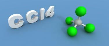 Carbon tetrachloride molecule. A 3d render of a carbon tetrachloride molecule Stock Photography