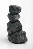 Carbon totem. Bits of carbon on a white background (carbon totem Stock Photography