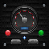 Carbon UI Application Software Controls Set. Switch, Button, Lamp, Car, Auto, Speedometr, Tachometer, Indicator, Detector Stock Photography