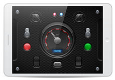 Carbon UI Application Software Controls Set. White Tablet PAD. Knobs, Switch, Button, Lamp, Speedometr. Stock Photo