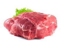 Carbonade do pescoço da carne de porco. Carne de carne de porco crua com salada Fotografia de Stock Royalty Free