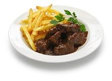 Carbonade flamande,佛兰芒炖牛肉,比利时烹调 免版税库存照片