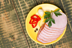 Carbonade met Spaanse peper en peterselie Stock Fotografie