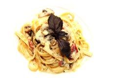 Carbonara макаронных изделий с грибом Стоковая Фотография