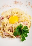 Carbonara with bacon and parmesan Stock Image