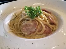 Carbonara with chicken pepperoni Stock Photography
