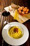 Carbonara d'alla de spaghetti Photos libres de droits