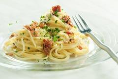 Carbonara de spaghetti Photographie stock libre de droits