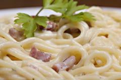 Carbonara degli spaghetti Fotografia Stock Libera da Diritti