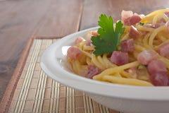 Carbonara del espagueti Fotografía de archivo libre de regalías