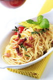 Carbonara di alla degli spaghetti Fotografie Stock
