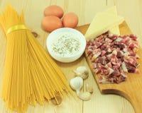 Carbonara di alla degli spaghetti Immagini Stock