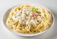 Carbonara di alla degli spaghetti Fotografia Stock Libera da Diritti