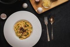 Carbonara do ala dos espaguetes Foto de Stock Royalty Free