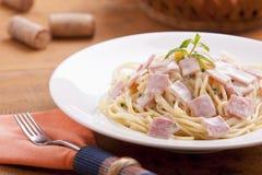 Carbonara dos espaguetes Fotografia de Stock Royalty Free