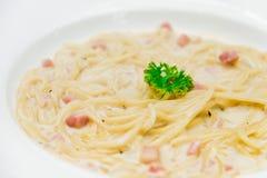 Carbonara dos espaguetes Fotos de Stock Royalty Free