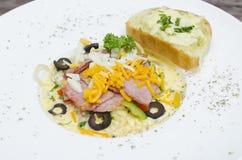 Carbonara ham. The spaghetti carbonara ham,Carbonara Ham Stock Image