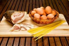 Carbonara ingredients Royalty Free Stock Image