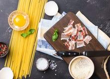 Carbonara italiano dos espaguetes foto de stock