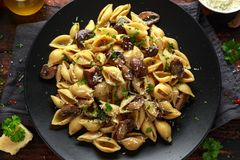 Carbonara mushrooms pasta Conchiglie with creamy sauce, parmesan cheese and herbs stock photos