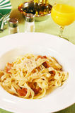 Carbonara pasta  in a plate Royalty Free Stock Images