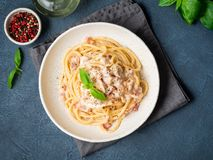 Carbonara pasta. Spaghetti with pancetta, egg, parmesan cheese a. Nd cream sauce. Traditional italian cuisine. Top view royalty free stock photography