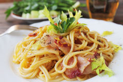 Carbonara pasta on a white plate Royalty Free Stock Photography