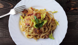 Carbonara pasta on a white plate Royalty Free Stock Photo