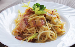 Carbonara pasta on a white plate Royalty Free Stock Image