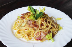Carbonara pasta on a white plate Stock Photo