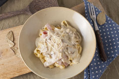 Carbonara Pasta. White sauce carbonara pasta with ham and mushroom Stock Photos