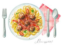Watercolor carbonara paste on a plate, cutlery and napkin vector illustration