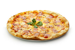 Carbonara Pizza. Pizza Carbonara with Bacon and Yolk of Chicken Egg Stock Photography