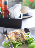 Carbonara spagetti fotografering för bildbyråer