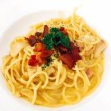 Carbonara spagetti Royaltyfri Fotografi