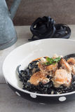Carbonara squid ink with sausages Royalty Free Stock Photos