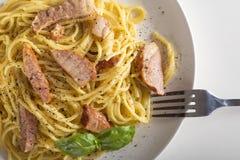 carbonara włoskiego makaronu talerza spaghetti tradycyjny biel Obrazy Royalty Free