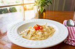 carbonara włoskiego makaronu talerza spaghetti tradycyjny biel Obraz Royalty Free