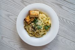 Carbonara on the wood table Stock Photography