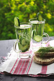 Carbonated bottled water with cucumber, dill and toast on a wood. Clean drinking water with cucumber and dill in a glass on a linen napkin Royalty Free Stock Photography