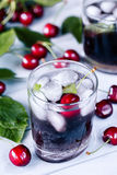 Carbonated chilled drink from sweet cherry Royalty Free Stock Photography